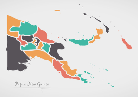 Papua New Guinea Map with states and modern round shapes Illustration