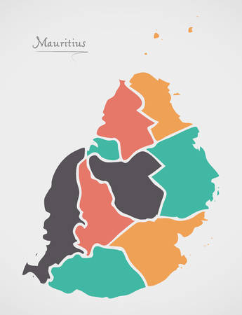 Mauritius Map with states and modern round shapes Illustration