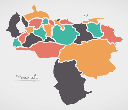 Venezuela Map with states and modern round shapes