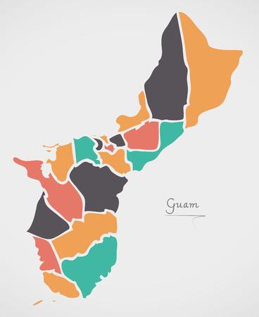 モダンなラウンド形状とグアム地図