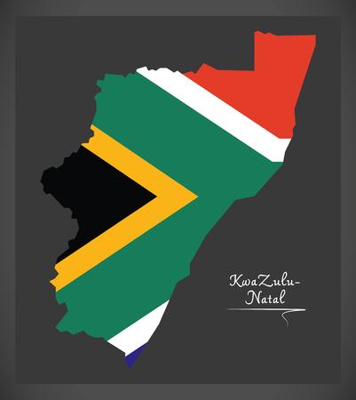 KwaZulu - Natal South Africa map with national flag illustration