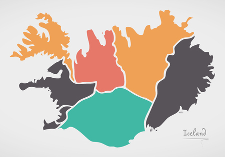 Iceland Map with states and modern round shapes