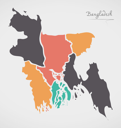 Bangladesh Map with states and modern round shapes Illustration