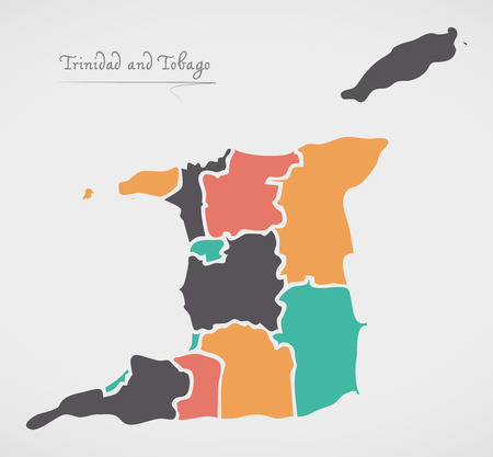 Trinidad and Tobago Map with states and modern round shapes Vettoriali
