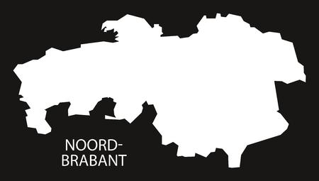 noord brabant: Noord Brabant Netherlands map black inverted silhouette illustration.