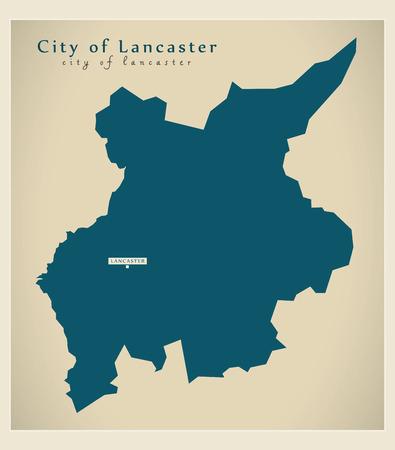 Modern Map - City of Lancashire county England UK illustration Illustration
