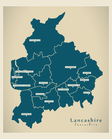 new england: Modern Map - Lancashire county with districts England UK illustration
