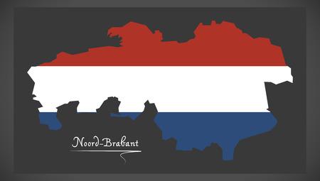 noord brabant: Noord-Brabant Netherlands map with Dutch national flag illustration Illustration