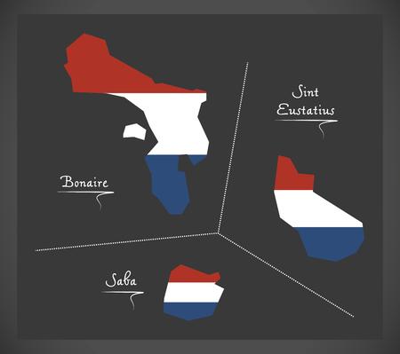 Bonaire - Sint Eustatius - Saba Netherlands map with Dutch national flag illustration Illustration
