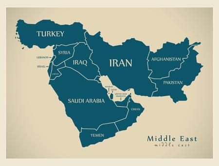 Mappa moderna - Medio Oriente con illustrazione di paesi