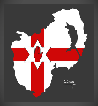 ulster: Down Northern Ireland map with Ulster banner national flag illustration