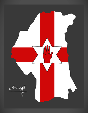 ulster: Armagh Northern Ireland map with Ulster banner national flag illustration