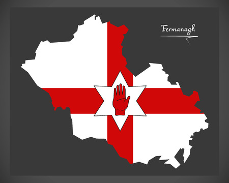 ulster: Fermanagh Northern Ireland map with Ulster banner national flag illustration Illustration
