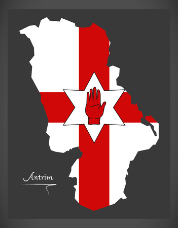 ulster: Antrim Northern Ireland map with Ulster banner national flag illustration