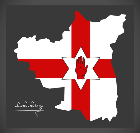 ulster: Londonderry Northern Ireland map with Ulster banner national flag illustration