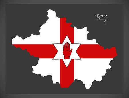 ulster: Tyrone Northern Ireland map with Ulster banner national flag illustration Illustration