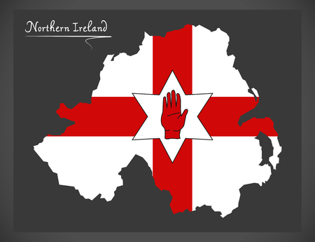 ulster: Northern Ireland map with Ulster banner national flag illustration