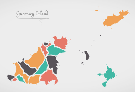 guernsey: Guernsey Map with states and modern round shapes Illustration