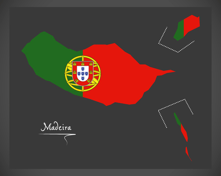 Madeira Portugal map with Portuguese national flag illustration Illustration