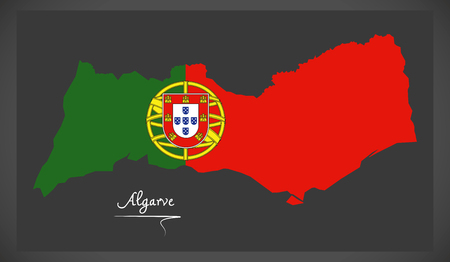 Algarve Portugal map with Portuguese national flag illustration