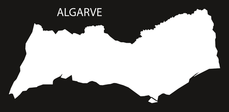 Algarve Portugal map black inverted silhouette illustration shape 向量圖像