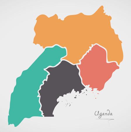 Oeganda Kaart met staten en moderne ronde vormen Stock Illustratie