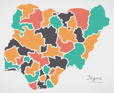 country nigeria: Nigeria Map with states and modern round shapes