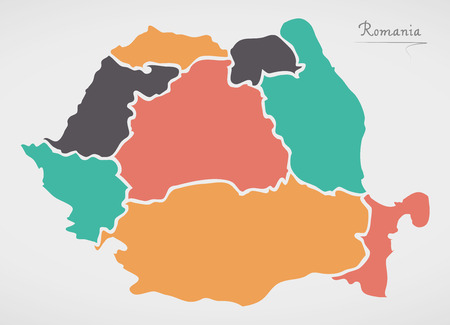 Romania Map with states and modern round shapes Ilustracja