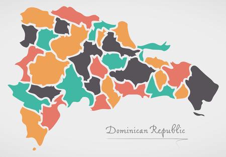 도미니카 공화국지도와 주와 현대 둥근 도형 일러스트