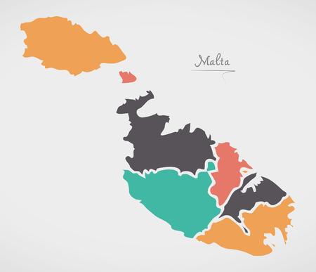 Malta Map with states and modern round shapes Illustration