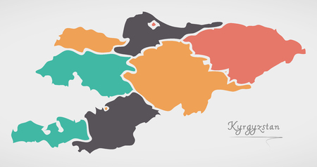 kyrgyzstan: Kyrgyzstan Map with states and modern round shapes Illustration