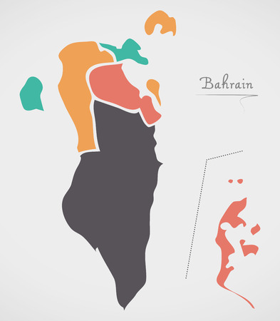 Bahrain Map with states and modern round shapes