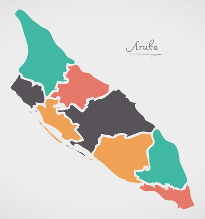 Aruba Map with states and modern round shapes