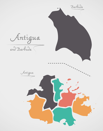 antigua: Antigua and Barbuda Map with states and modern round shapes