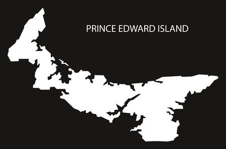 Prince Edward Island Canada map black inverted silhouette illustration shape