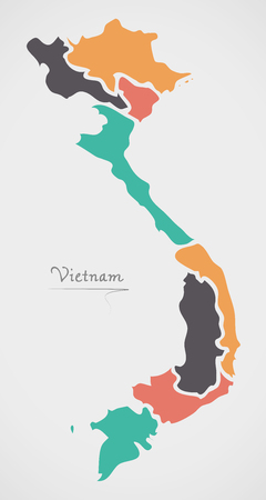 divisions: Vietnam Map with states and modern round shapes Illustration