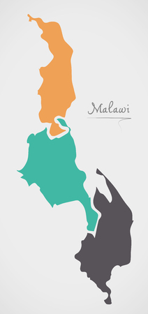 Malawi Map with states and modern round shapes