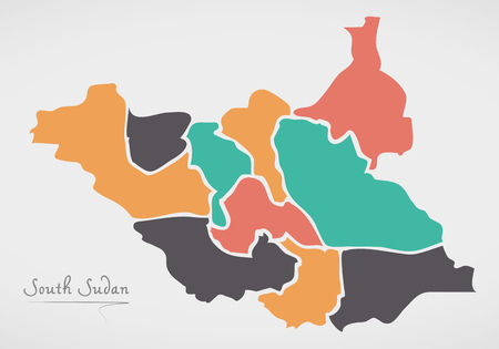 divisions: South Sudan Map with states and modern round shapes
