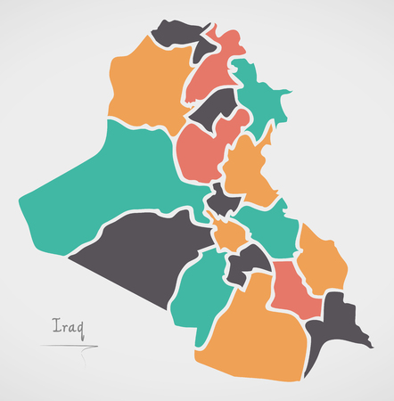 Iraq Map with states and modern round shapes Illustration