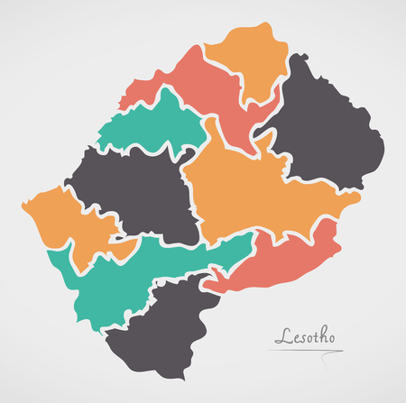 lesotho: Lesotho Map with states and modern round shapes