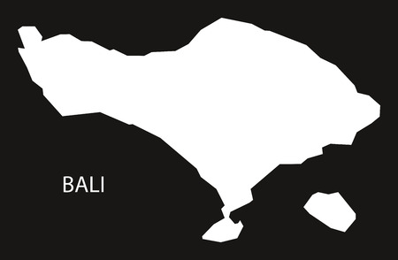 Bali Indonesia map black inverted silhouette illustration shape Reklamní fotografie - 82420818