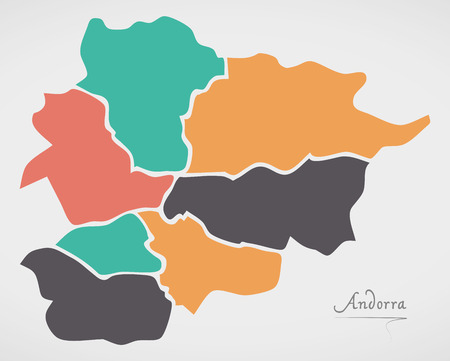 Andorra Map with states and modern round shapes