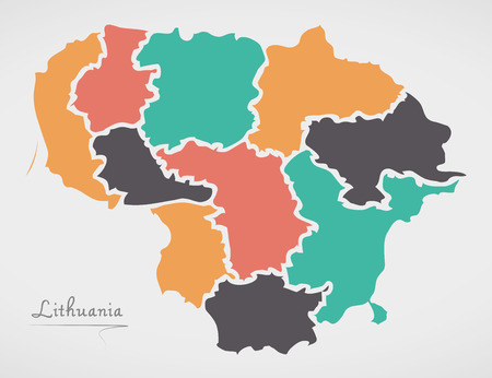 Lithuania Map with states and modern round shapes