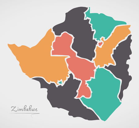 Zimbabwe Map with states and modern round shapes