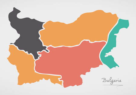 Bulgaria Map with states and modern round shapes