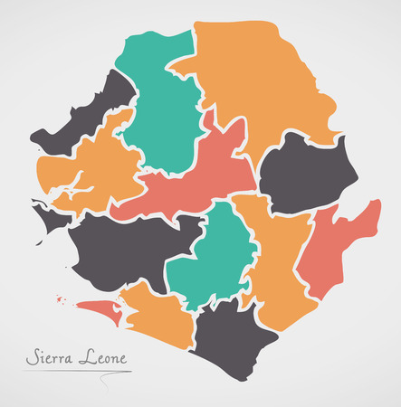 Sierra Leone Map with states and modern round shapes