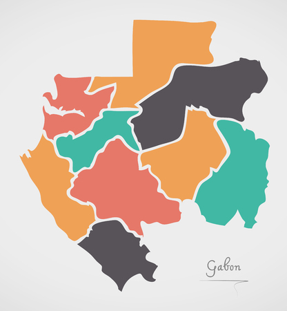 divisions: Gabon Map with states and modern round shapes