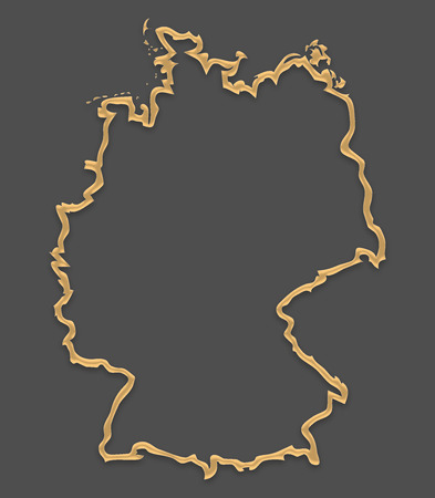 Germany map in picture frame look with golden brown outline shape Stok Fotoğraf - 82482527