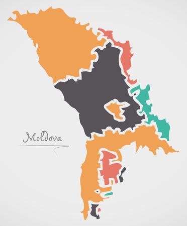 Mapa de Moldavia con estados y formas redondas modernas Ilustración de vector