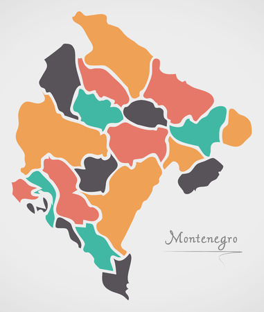 Montenegro Map with states and modern round shapes Illustration